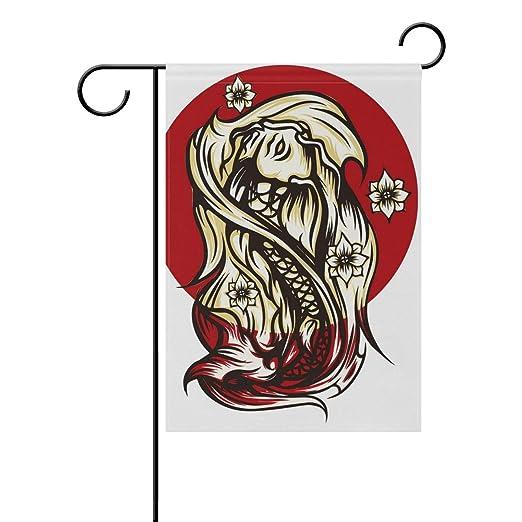 AMONKA Vinatge Dragón Tatuaje japonés Bandera de jardín de Doble ...