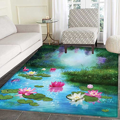 (Nature Area Mat Fantasy Pond with Water Lilies Floating Romantic Lotus Fairy Tale Digital Art Indoor/Outdoor Area Mat 2'x3' Aqua Pink Green)