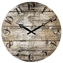 Edxtech 15 Large Vintage Rustic Retro Antique Shabby Chic Wall Clock Home Kitchen Decor