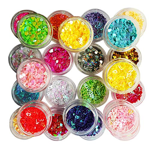Lasten 24 cols Manicure Glitter Confetti, 3D Glitter Confetti Shapes, Mixed Shapes Nail Art Set, Hollow Solid Heart Confetti, Great for Art Projects, Parties, DIY Crafts & Decoration -