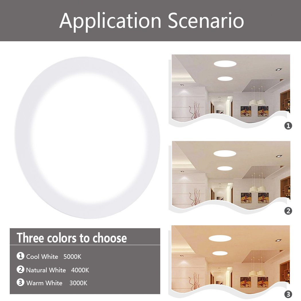 Ceiling Lights, TryLight 12 Watts 6 Inch Dimmable Round LED Recessed Lighting Ultra-Thin for Home Office Commercial Lighting, 4000K Cool White by TryLight (Image #9)