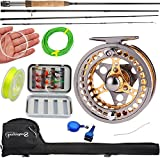 Sougayilang Fly Fishing Rod Reel Combos with Lightweight Portable Fly Rod and CNC-machined Aluminum Alloy Fly Reel,Fly Fishing Complete Starter Package For Sale