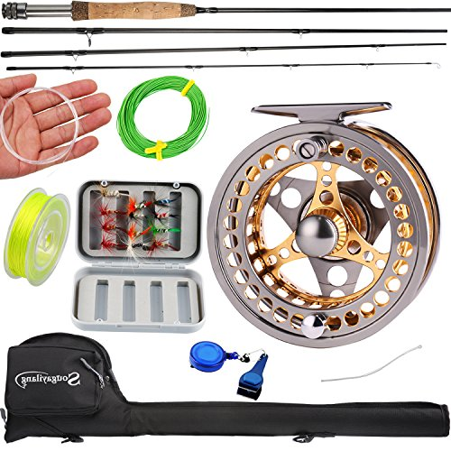 Sougayilang Fly Fishing Rod Reel Combos with Lightweight Portable Fly Rod and CNC-machined Aluminum Alloy Fly Reel,Fly Fishing Complete Starter (Starter Fly Fishing Rod)