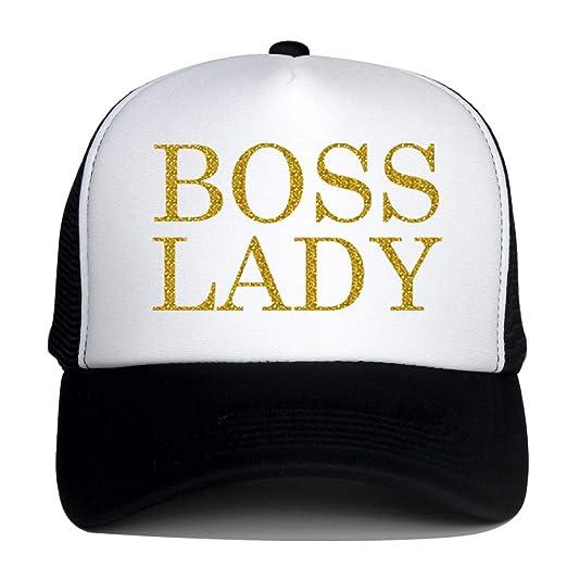 39630dbe43b73 Trucker Hats for Adult Boss Lady Gold Logo Print Summer Mesh Caps (Black