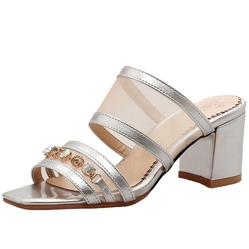 COOLCEPT Femme Mode Bout Ouvert Laniere Sandales Mules Bloc Talon Moyen  Pointure Grande (31 EU 4d87139b1627