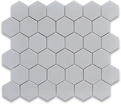 Stone Center Online Thassos White Marble 2 Inch Hexagon Mosaic Tile Polished For Kitchen Backsplash Bathroom Flooring Shower Surround Dining Room Entryway Corrido Spa 1 Sheet