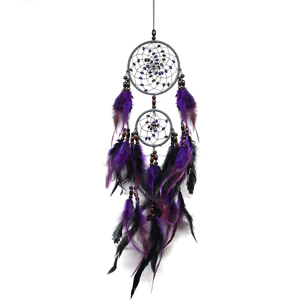MIRUIKE Handmade Traditional Dream Catcher with Feathers Beads Wall Hanging Ornament Purple Dreamcatcher Net for Home Decor, Kids Bedroom