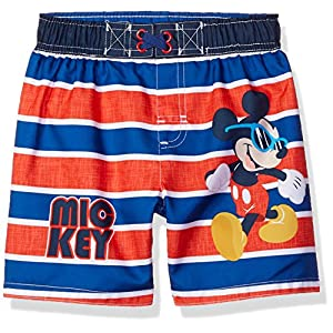 Disney Toddler Boys' Mickey Mouse Stripped Swim Trunk