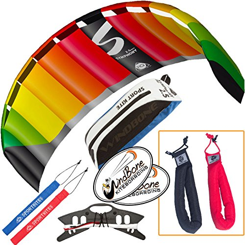 HQ Symphony Pro 2.5 Kite Rainbow Bundle (3 Items) + Peter Lynn Heavy Duty Padded Kite Control Strap Handles Pair + WindBone Kiteboarding Lifestyle Stickers by HQ Power Kites, Peter Lynn, WindBone