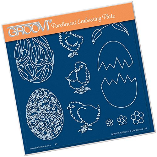 Groovi Embossing A5 Square ~ Ornate Eggs & Chicks, GRO40530 Claritystamp