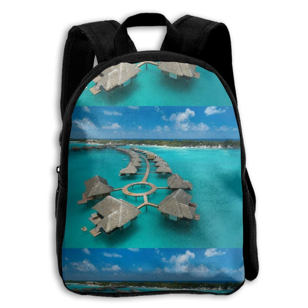 Peculiar Water Sky Vacation Hotels 3D Children Multi-function Mini Bag Pocket Zipper Casual Outdoor Travel Book Middle School Backpack