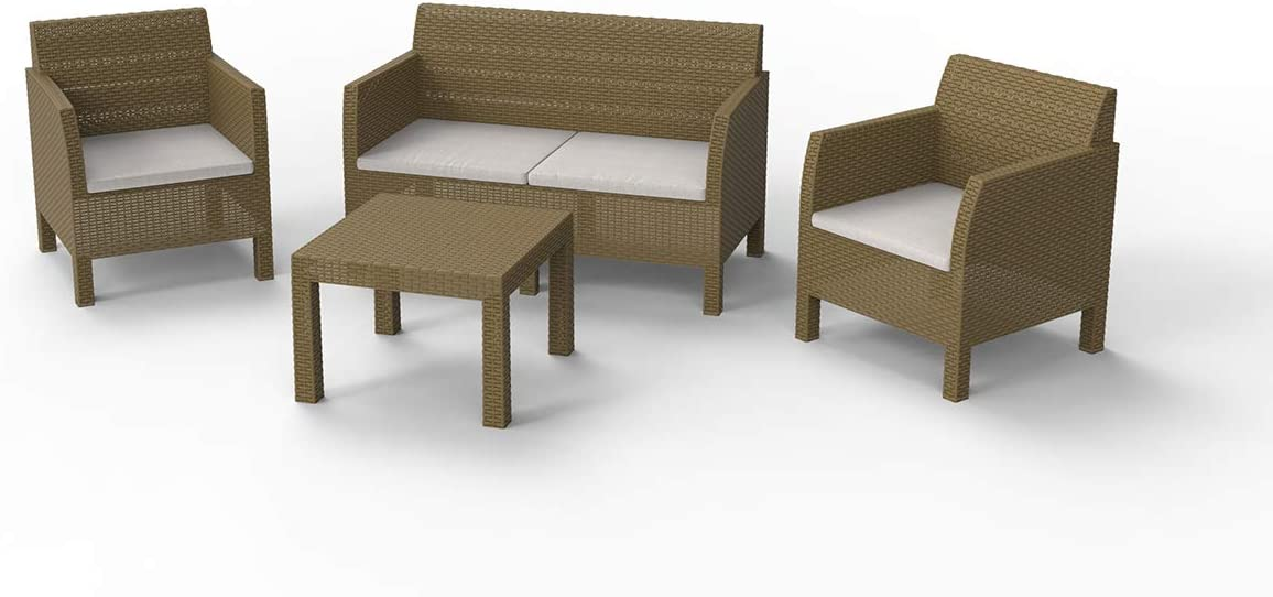 Toomax Set mobili da Giardino Matilde 2 posti Art 116 in Resina Anti-UV ed intemperie Composto 2 POLTRONE E TAVOLINO Colore Cappuccino