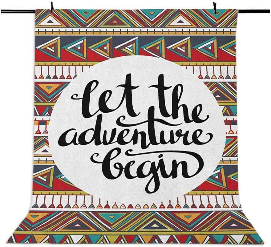 7x10 FT Adventure Vinyl Photography Backdrop,Backdrop with Geometric Aztec Motifs and Hand Writing Old Fashioned Style Background for Party Home Decor Outdoorsy Theme Shoot Props