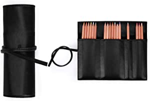 ECOSUSI Pencil Case Pencil Pouch Pen Bag PU Leather Pouch Roll Up Purse for School, Work, Office, Black