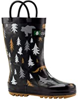 Oakiwear Kids Rubber Rain Boots with Easy-On Handles | Mermaids, Pirates, Crocodile, Purple Fairies, Blue Dino, Army