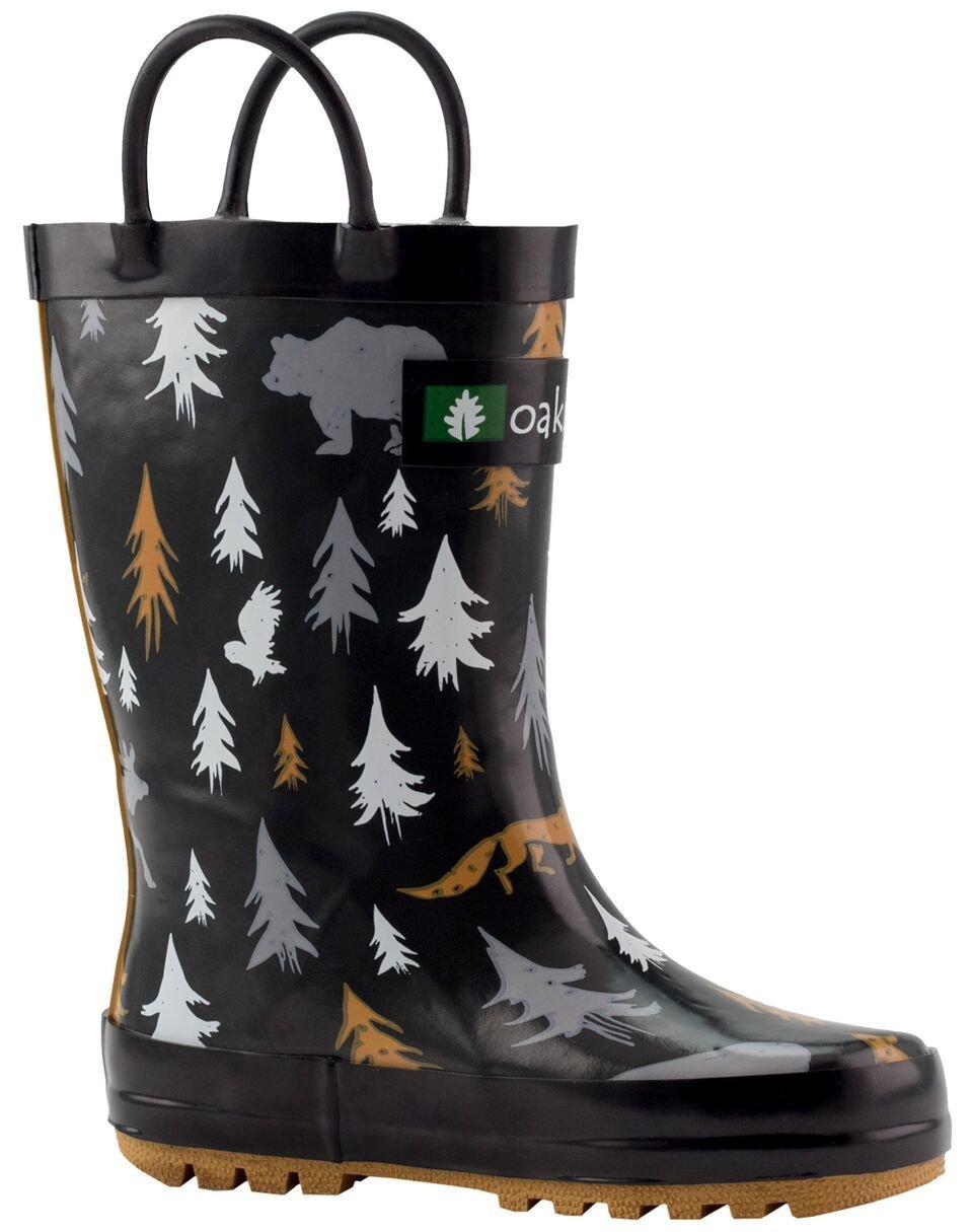 Oakiwear Kids Rubber Rain Boots with Easy-On Handles, Wildlife Tracker, 3Y US Big Kid