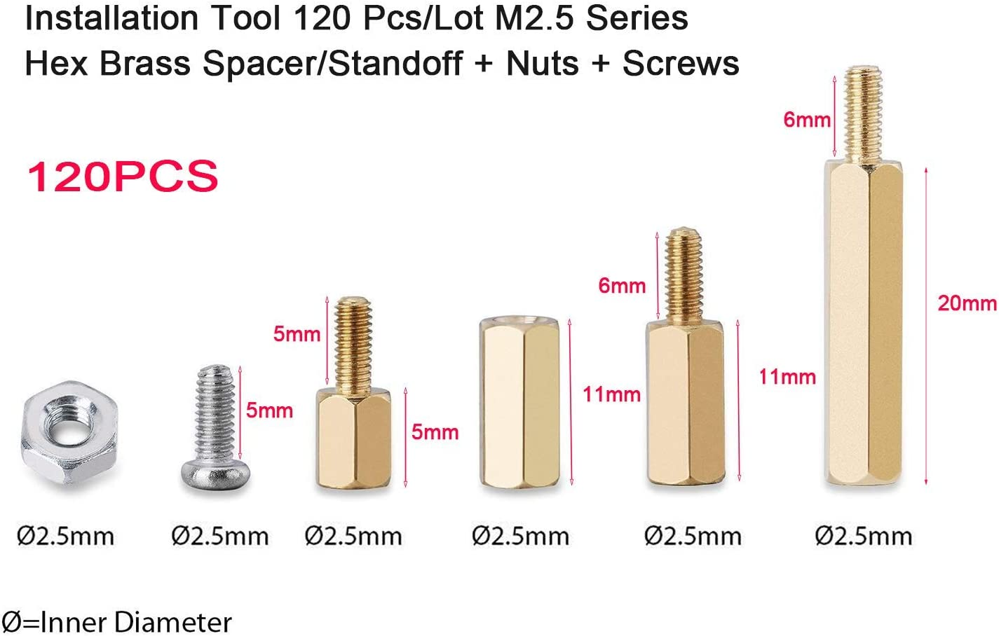 Nuts Michaelia Installation Tool 120 Pcs//Lot M2.5 Series Hex Brass Spacer//Standoff // 3B // Zero W Accessories Kit Plus Screws w//Storage Case Raspberry Pi 3 Model B+