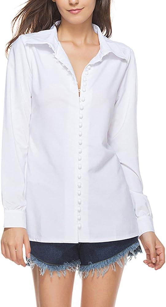 Las Mujeres Solo Pecho Solapa Cuello Fruncido Blusa De Manga Larga T - Shirt White M: Amazon.es: Ropa y accesorios
