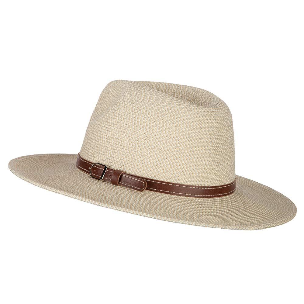 Mens Paper Braid Large Brim Fedora Hat UPF 50