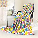 YOYI-HOME Digital Printing Duplex Printed Blanket Buttons Pattern in Various Sizes Artistic Kids Nursery Baby Print Multicolor Summer Quilt Comforter /W59 x H86.5