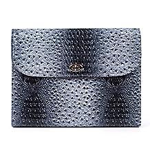 Pettom Crocodile Grain Design Leather Expandable Portable Accordion File Document Folder File Organizer A4 and Letter Size 13 Pockets