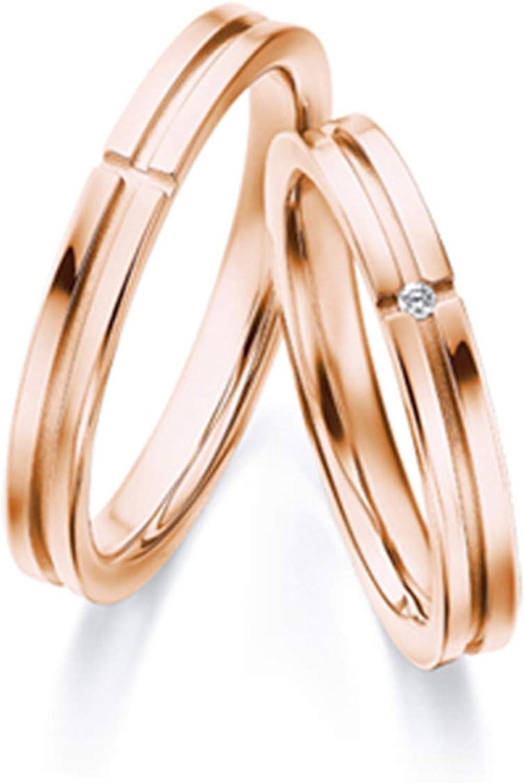 Epinki Anillo Oro Rosa 18k Simple Cruz Diamante 0.01ct Anillos Compromiso Mujer