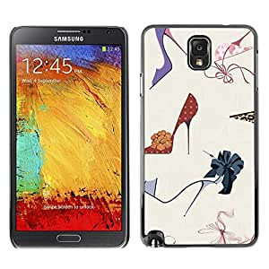 Design for Girls Plastic Cover Case FOR Samsung Note 3 N9000 Stiletto Fashion Design Shoes Purple OBBA