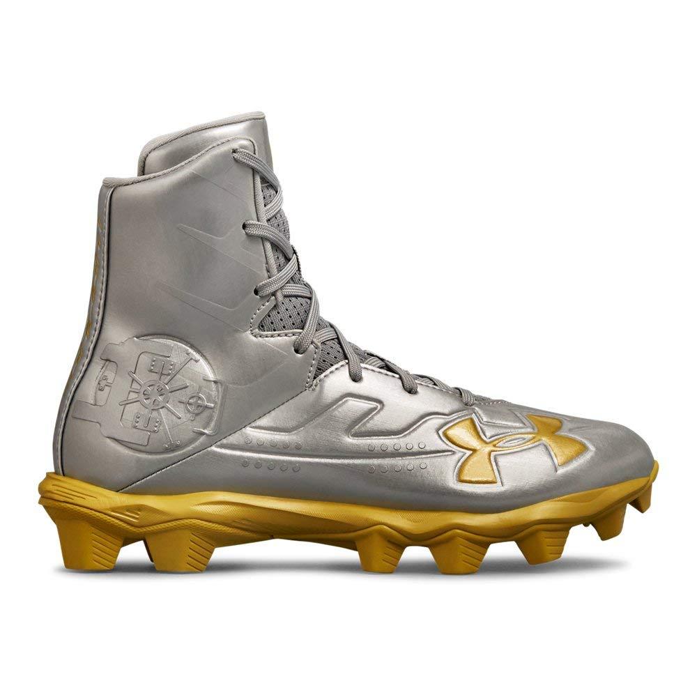 Under Armour Boys' Highlight RM Jr. LE Football Shoe Silver (100)/Metallic Gold, 4