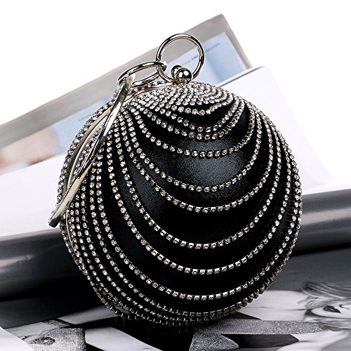 Diamante Ladies Wedding Clubs Gift Shoulder For Bag Clutch Handbag Purse Glitter Women Evening Bridal Black Circular Bag Party Prom agF17qY