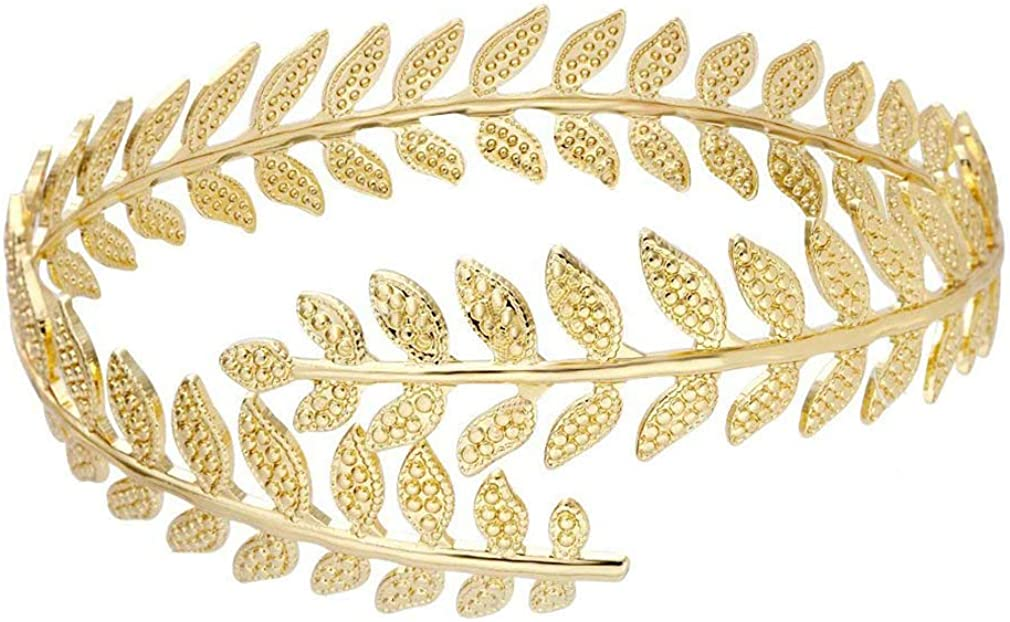 MANZHEN Fashion Gold Tone Swirl Leaf Upper Arm Bracelet Armlet Cuff Bangle Armband Adjustable