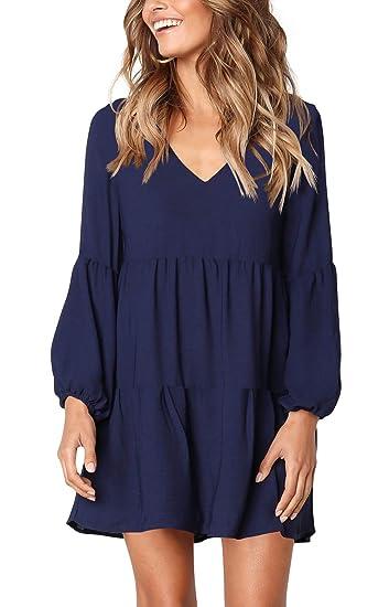 Image result for FHKDL Women's Long Sleeve Tunic Dress Casual Ruffle Swing Short Dresses