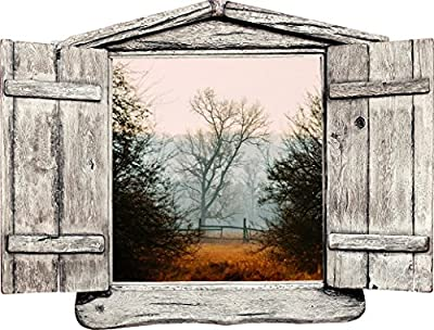 "24"" Window Landscape Country Scene Instant Nature View COUNTRYSIDE FENCE AUTUMN #1 WOODEN OPEN Wall Sticker Decal Room Home Office Art Décor Den Mural Graphic SMALL"