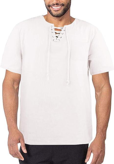 Mens Summer Hippie V Neck Cotton Linen T Shirts Baggy Short Sleeve Linen Shirts Plain Beach Yoga Top