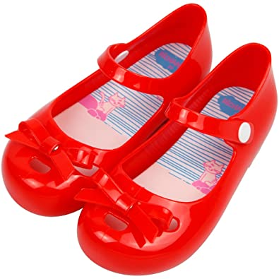 iFANS Girls Princess Cute Bow Jelly Shoes Toddler Kids Mary Jane Flats Red