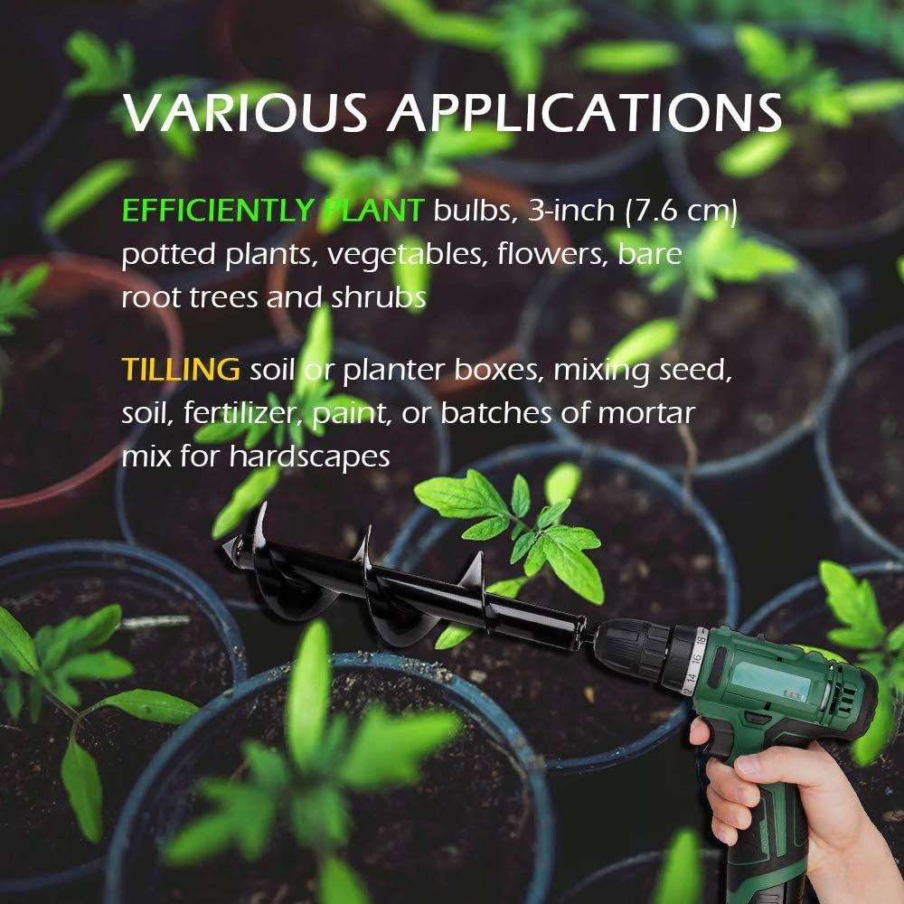 Punta per Trivella a Spirale da Giardino Attrezzo da Giardinaggio per Piantare 8 x 30 80x25cm 8X 25 cm Punta da Trapano a Bulbo per Piantatrice da Giardino Coltivatore