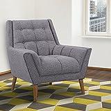 Armen Living Cobra Mid-Century Modern Chair, Dark Gray/Walnut Finish