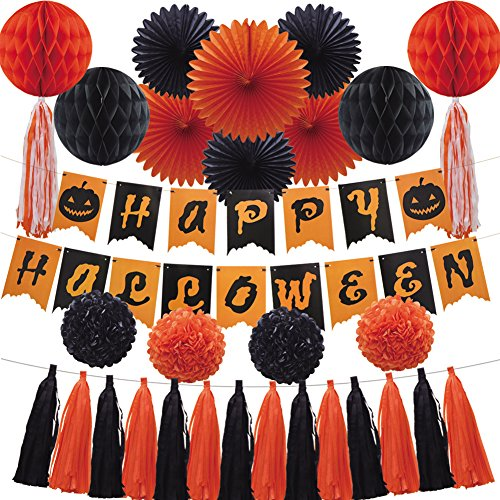 Halloween Party Decoration Set, Paper Banner Honeycomb Balls Hanging Fans Tissue Paper Pom Poms Flowers Tassel Garland for Halloween Party Birthday Event Decorations Black Orange 35pcs