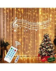 24HOCL 300 LED Curtain String Lights with Sound Activated & Timer Function, 12 Modes USB Powered Fairy Lights String for Bedroom Wedding Party Halloween Christmas New Year Outdoor Indoor Decor