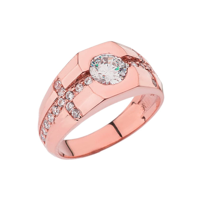 Amazon.com: Fancy 14k Rose Gold Men\'s Diamond Sideway Cross with ...