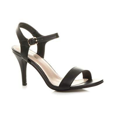 64aab4ca4ec Ajvani Womens Ladies high Heel Buckle Strappy Basic Evening Sandals Shoes  Size 3 36