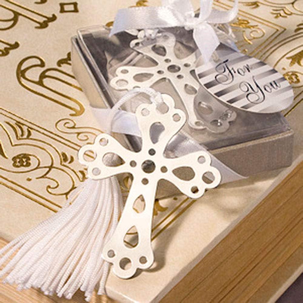 Lote de 26 Puntos De Libro Cruz Con Borla En Cajita De Regalo - Detalles para comunion baratos. Regalos originales comunion