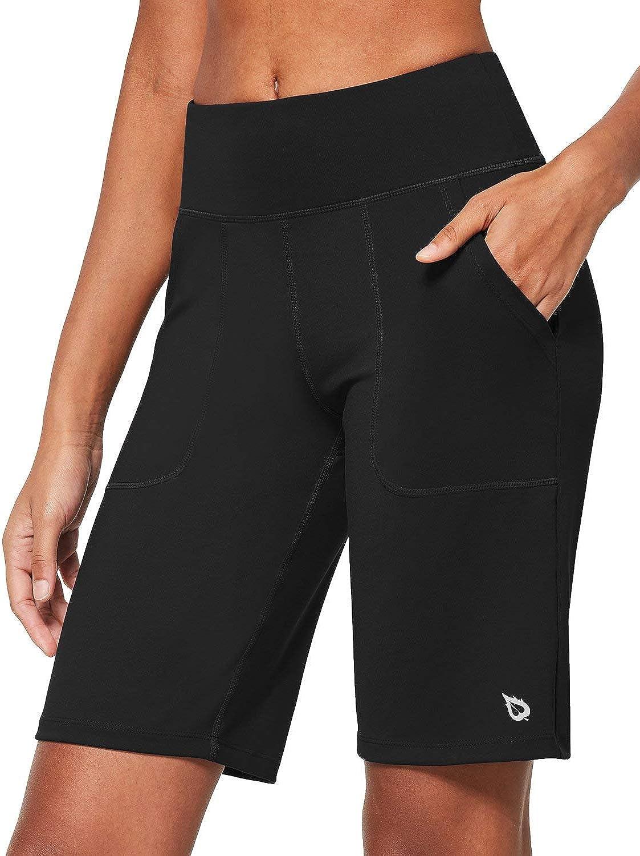 BALEAF Women's 10'' Athletic High-Waisted Bermuda Shorts Running Long Shorts Lounge Yoga Workout with Pockets: Clothing