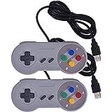 アナログコントローラー Iseebiz snesゲーム対応 ゲームパッド ゲームハンドル USB接続 レトロクラシック 2個セット