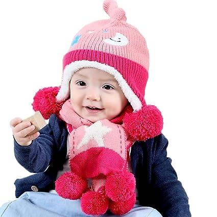 cosanter gorro bufanda conjuntos invierno Beanie Cap bufanda de punto para  niños de lana de color 127c223bfdd