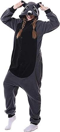 Mapache Pijamas Animal Cosplay Disfraces Carnaval Halloween Navidad Cosplay Traje Unisex Adulto Ropa de Dormir Disfraces de Fiesta
