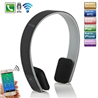 Headset iPhone 7 Headphone,TechCode New Wireless Bluetooth Stereo Earphone Mic for Tablet PC and all iPhones and all iPads iPod Samsung Phones (Black)
