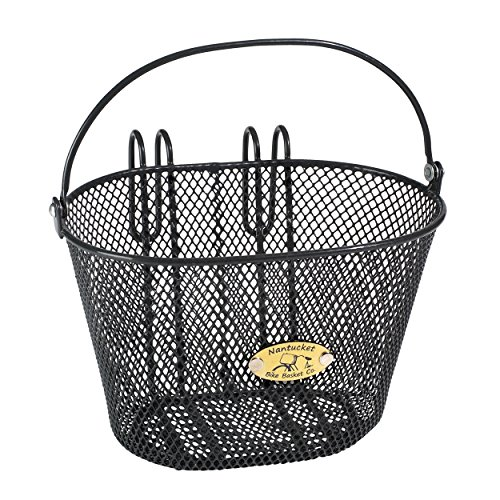 Nantucket Bike Basket Co Kid's Surfside Mesh Wire Basket, Charcoal - Girl Basket Bicycle