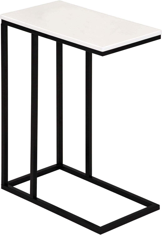 IDIMEX Beistelltisch Debora Wohnzimmertisch Couchtisch rechteckig, Metallgestell, MDF Tischplatte im Retro Stil, weiß
