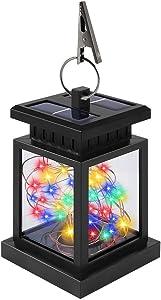 Solar Lantern Outdoor Hanging Lights, ANDEFINE Solar Hanging Lantern Waterproof Solar Table Lamp Solar Powered Outdoor Lanterns Decoration Colorful Lights for Patio, Garden, Tree, Umbrella (1 Pack)