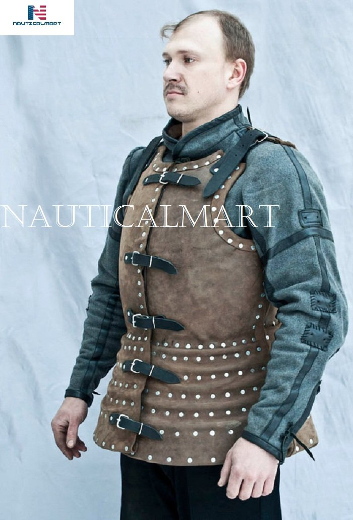 NAUTICALMART Brigandine Armor with Leather Warrior Costume SCA LARP Knight Fantasy Cuirass Steel by NAUTICALMART